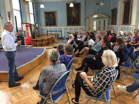 Tim talking at Sir John Cass Primary School, London in June 2017