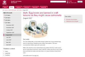 HSE web page Myth of the month - Egg boxes are banned in craft lessons
