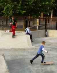Skaters in a skate park