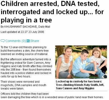 Daily mail story about children arrested for playing in a tree