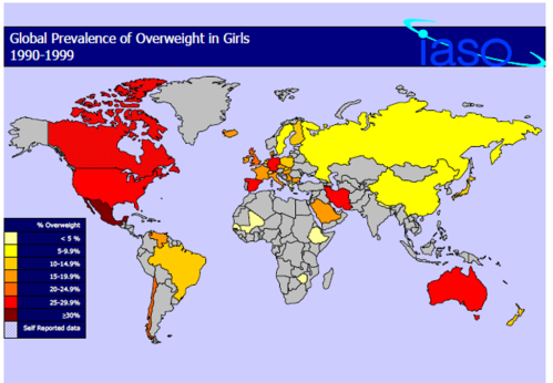 world obesity rates for girls 1990-2000