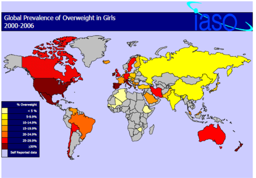 World obesity map for girls after 2000