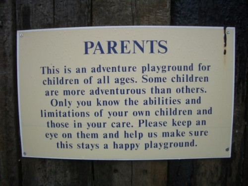 Sign outside Chatsworth House playground