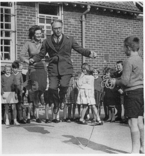Peter and Iona Opie skipping with children