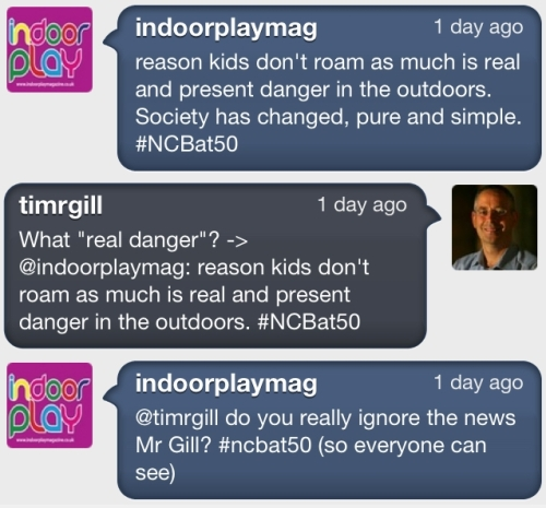 Twitter exchange about danger in the outdoors