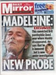 Front cover of Daily Mirror with Madeleine story