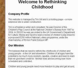 Rethinking Childhood website 2004