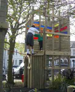 Rope bridge in play area