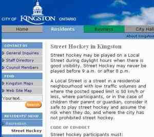 Screengrab of Kingston Ontario Street Hockey law