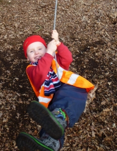 4-year-old boy on a rope swing