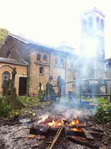Fire in churchyard