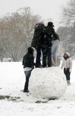 Teenagers on a big snowball