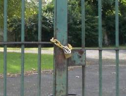 Gate locked with chain