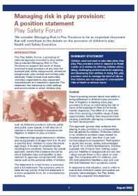Managing risk in play provision 2002