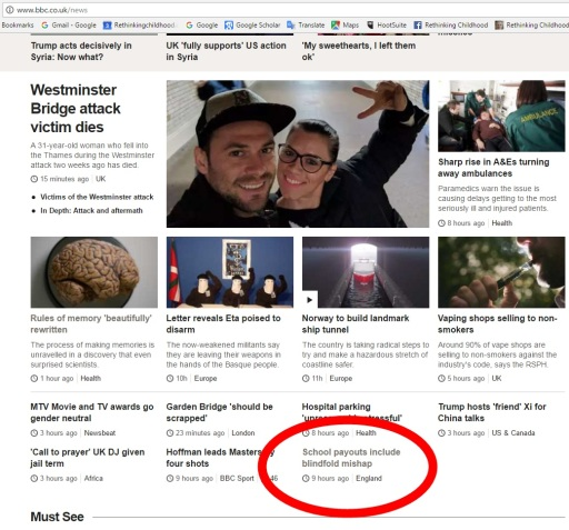 Screengrab BBC News home page 7 April 2017 with school payout story circled
