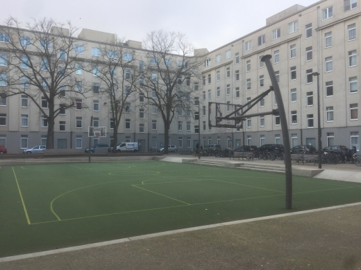 Ball court in Antwerp social housing area