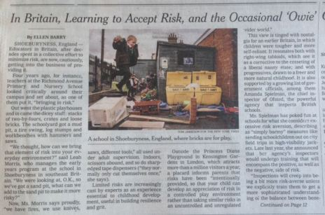 NY Times cover article on risk and learning