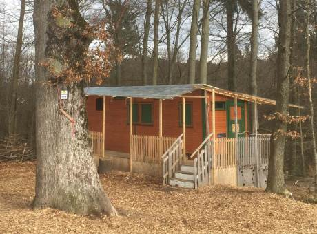 Forest kindergarten building in the Black Forest near Freiburg