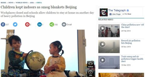 Screengrab Telegraph headline on kids being kept indoors in Beijing