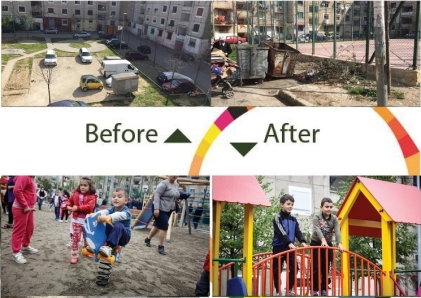 Before-and-after photos of Allias playground