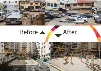 Before-and-after photos of Pallati Me Shigjeta playground