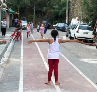 Children playing during Streets for Play project, Jundiai, Brazil