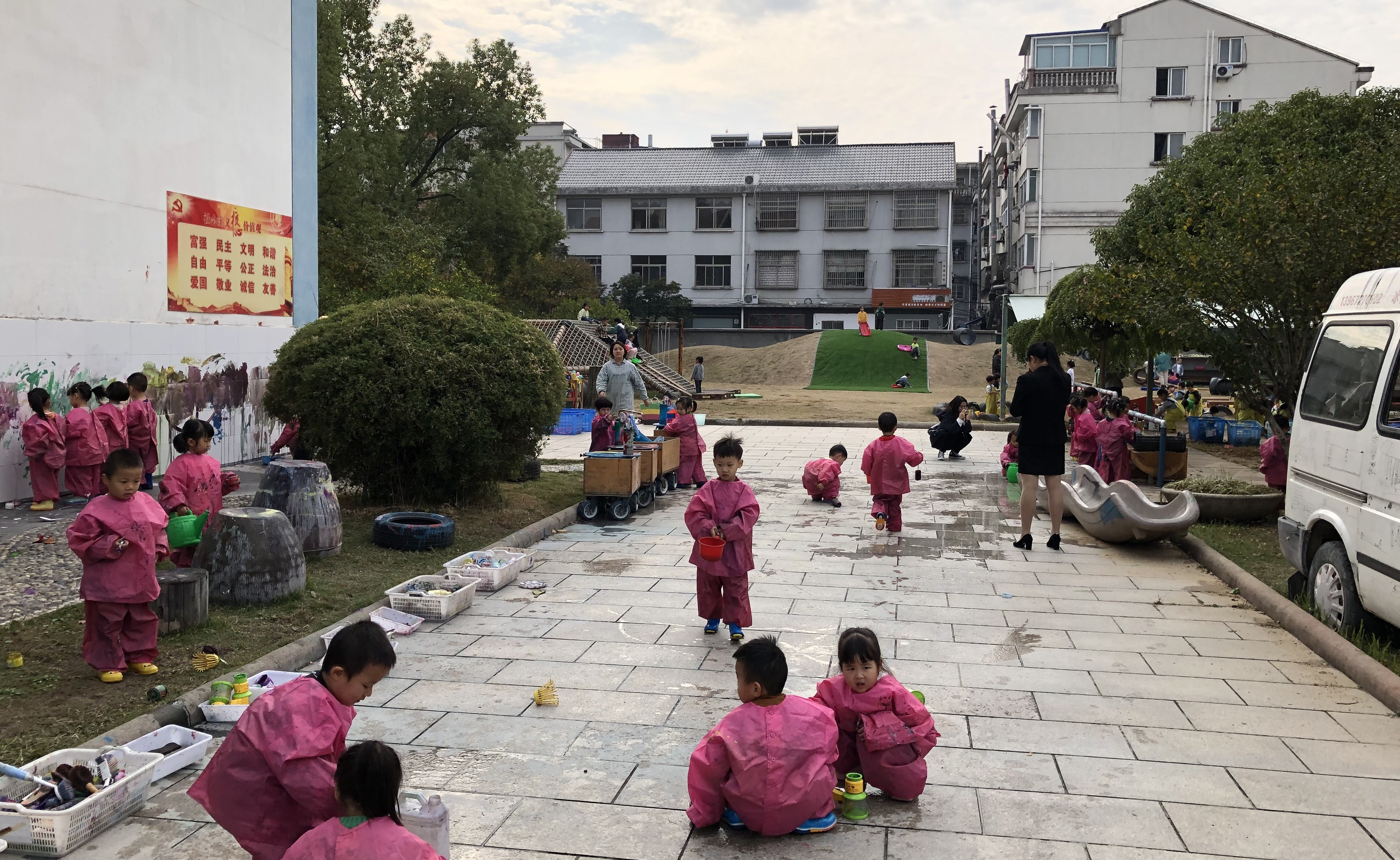 My first view of the schoolyard at Anji Play