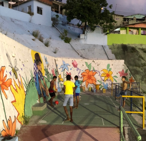 Small terraced painted football area, Burity neighbourhood, Recife