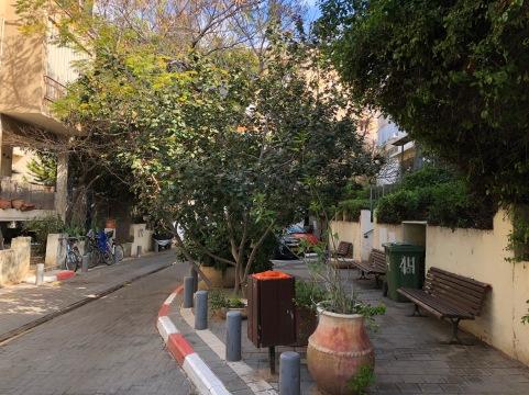 Woonerf-style residential street in downtown Tel Aviv.